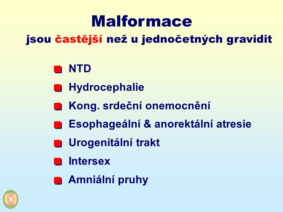 Malformace jsou častější než u jednočetných gravidit NTD Hydrocephalie