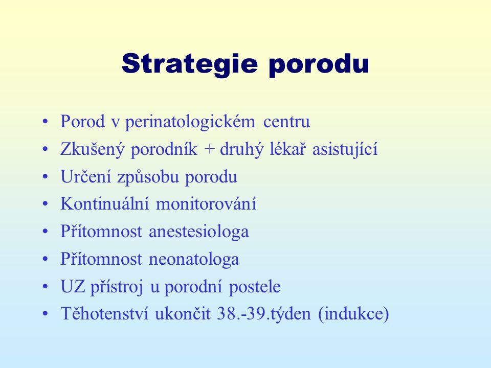 Strategie porodu Porod v perinatologickém centru