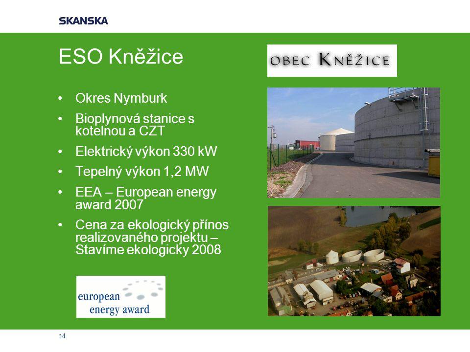 ESO Kněžice Okres Nymburk Bioplynová stanice s kotelnou a CZT