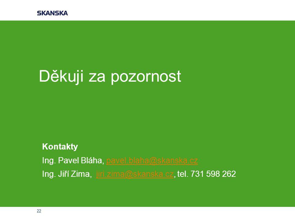 Děkuji za pozornost Kontakty Ing. Pavel Bláha, pavel.blaha@skanska.cz