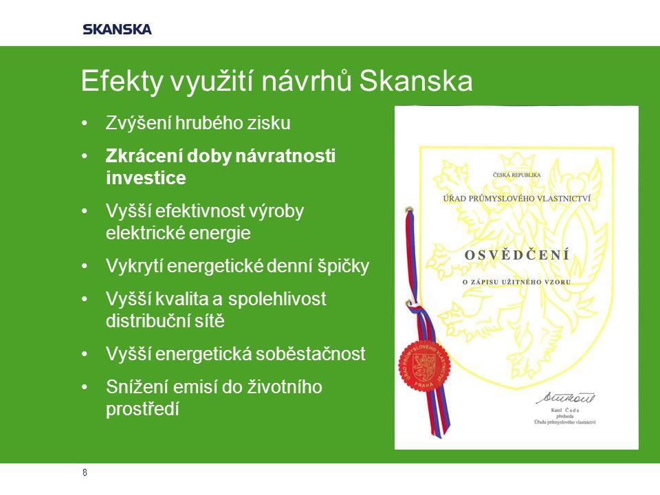 Efekty využití návrhů Skanska