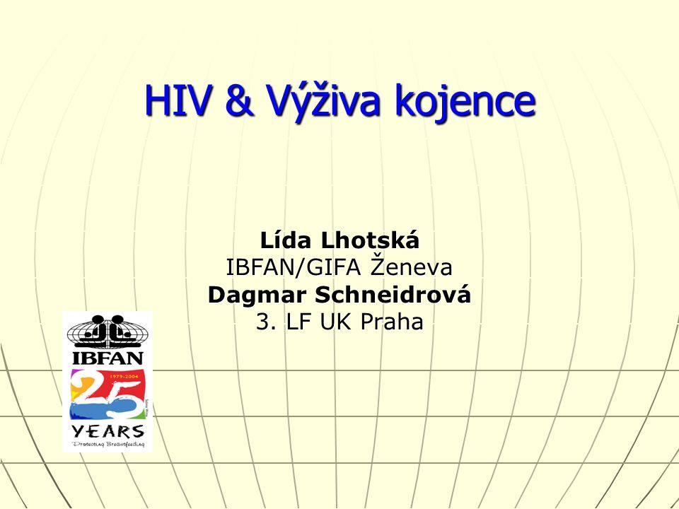 HIV & Výživa kojence Lída Lhotská IBFAN/GIFA Ženeva Dagmar Schneidrová