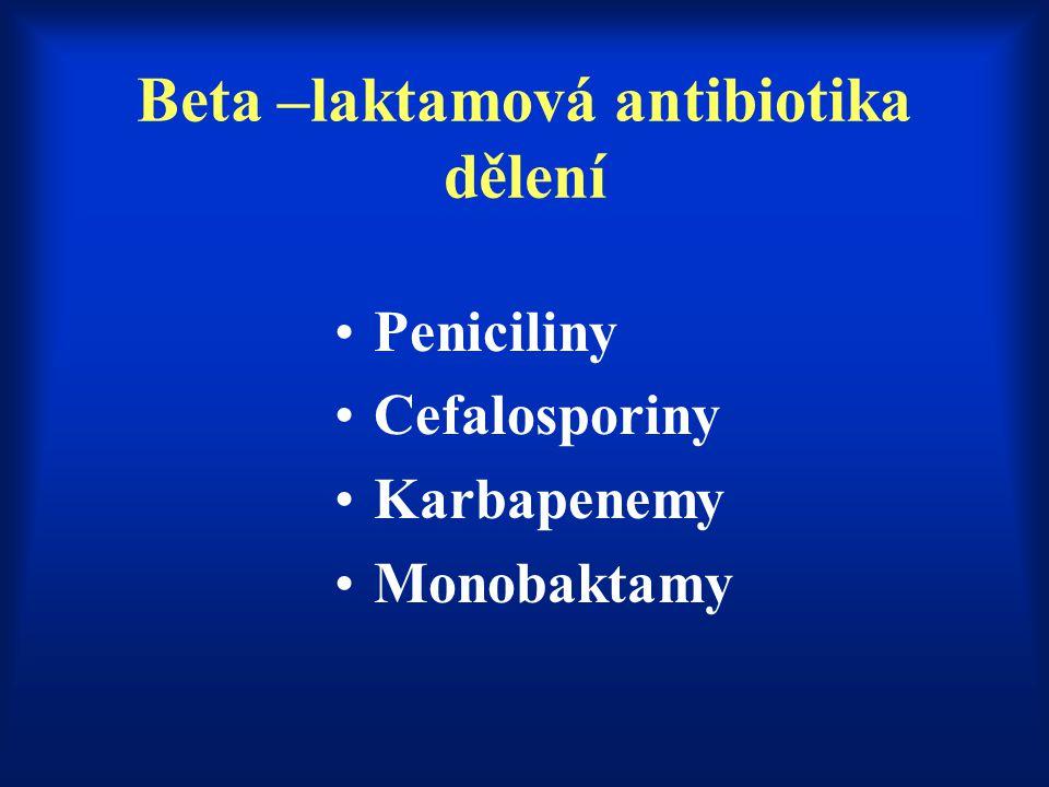 Beta –laktamová antibiotika dělení