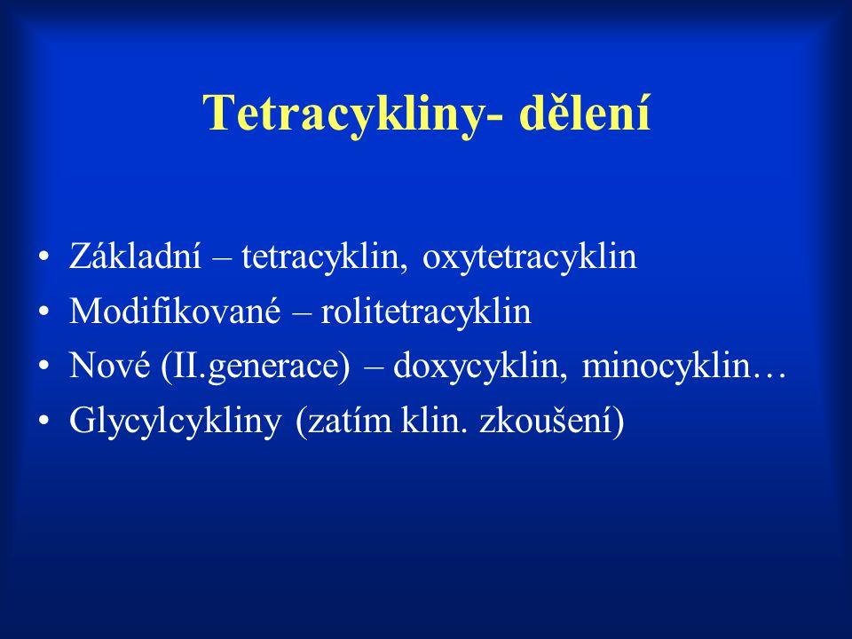 Tetracykliny- dělení Základní – tetracyklin, oxytetracyklin