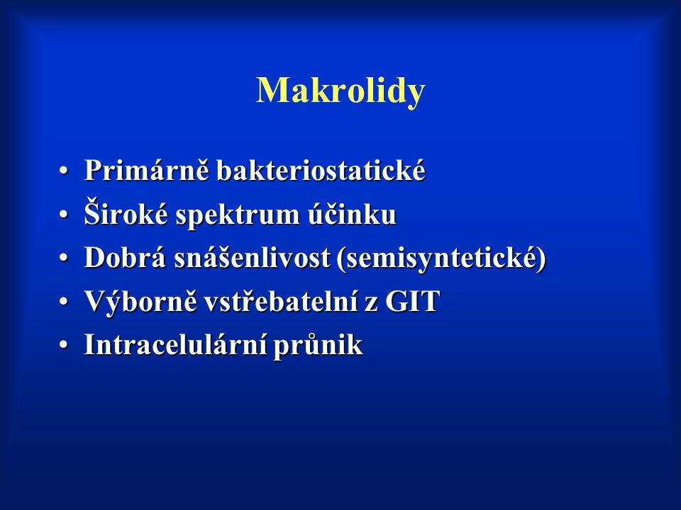 Makrolidy Primárně bakteriostatické Široké spektrum účinku