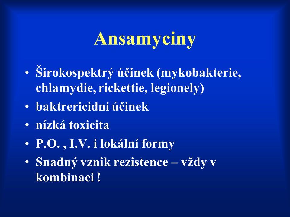 Ansamyciny Širokospektrý účinek (mykobakterie, chlamydie, rickettie, legionely) baktrericidní účinek.