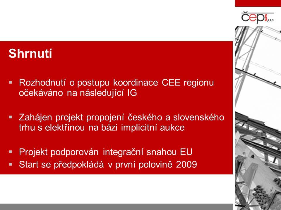 Shrnutí Rozhodnutí o postupu koordinace CEE regionu očekáváno na následující IG.