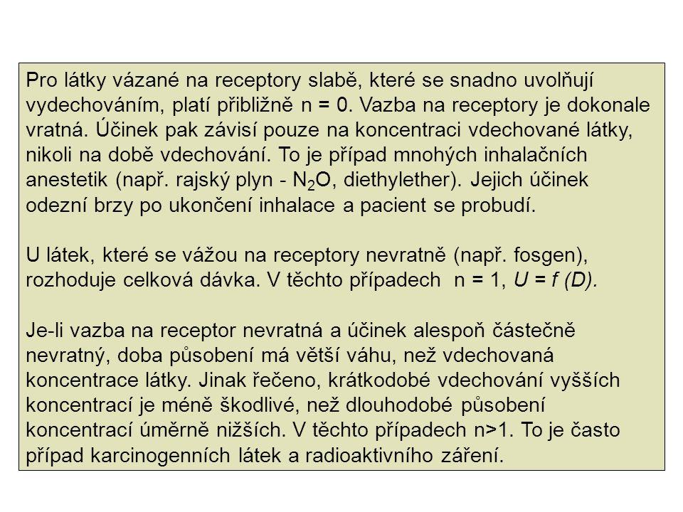 Pro látky vázané na receptory slabě, které se snadno uvolňují vydechováním, platí přibližně n = 0. Vazba na receptory je dokonale vratná. Účinek pak závisí pouze na koncentraci vdechované látky, nikoli na době vdechování. To je případ mnohých inhalačních anestetik (např. rajský plyn - N2O, diethylether). Jejich účinek odezní brzy po ukončení inhalace a pacient se probudí.