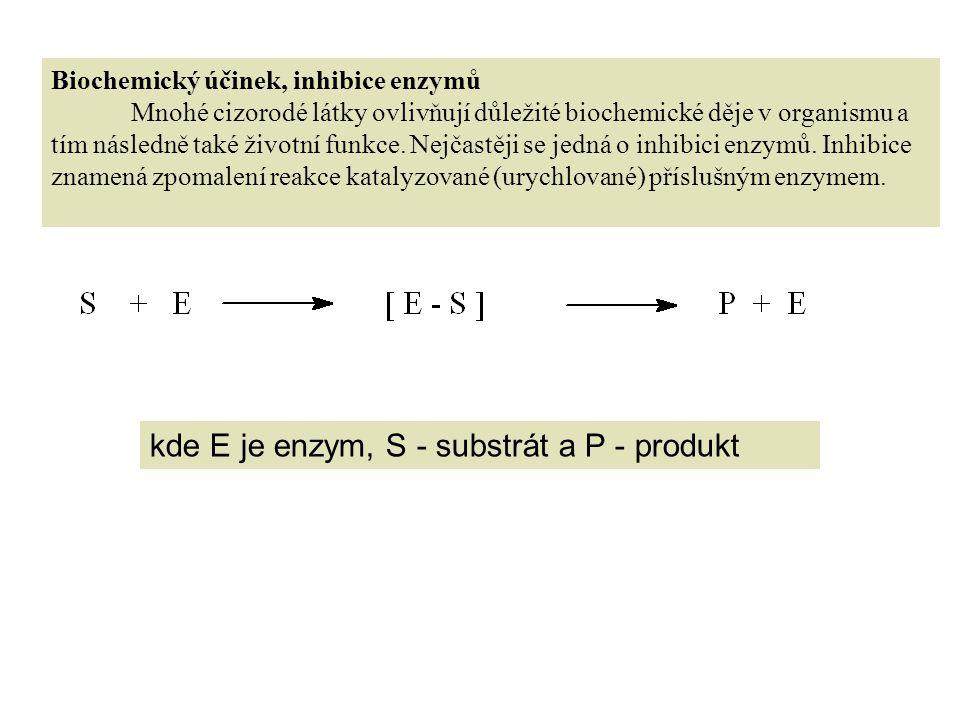 kde E je enzym, S - substrát a P - produkt