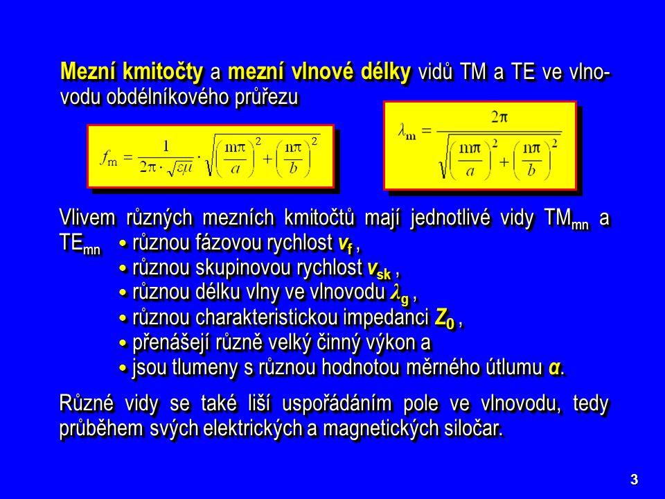 Mezní kmitočty a mezní vlnové délky vidů TM a TE ve vlno-vodu obdélníkového průřezu