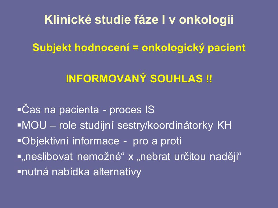 Klinické studie fáze I v onkologii