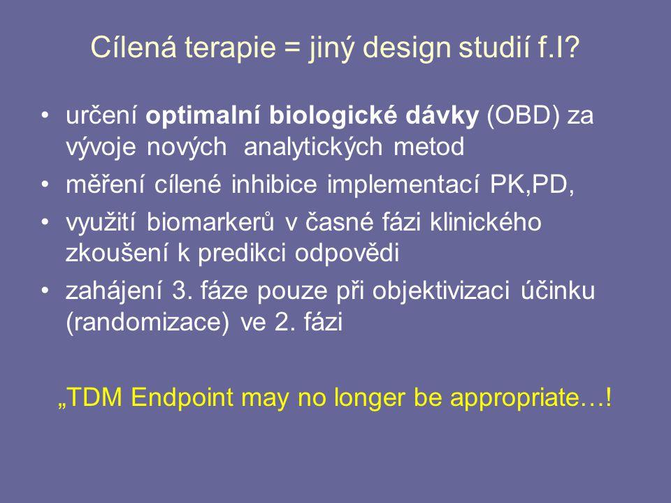 Cílená terapie = jiný design studií f.I