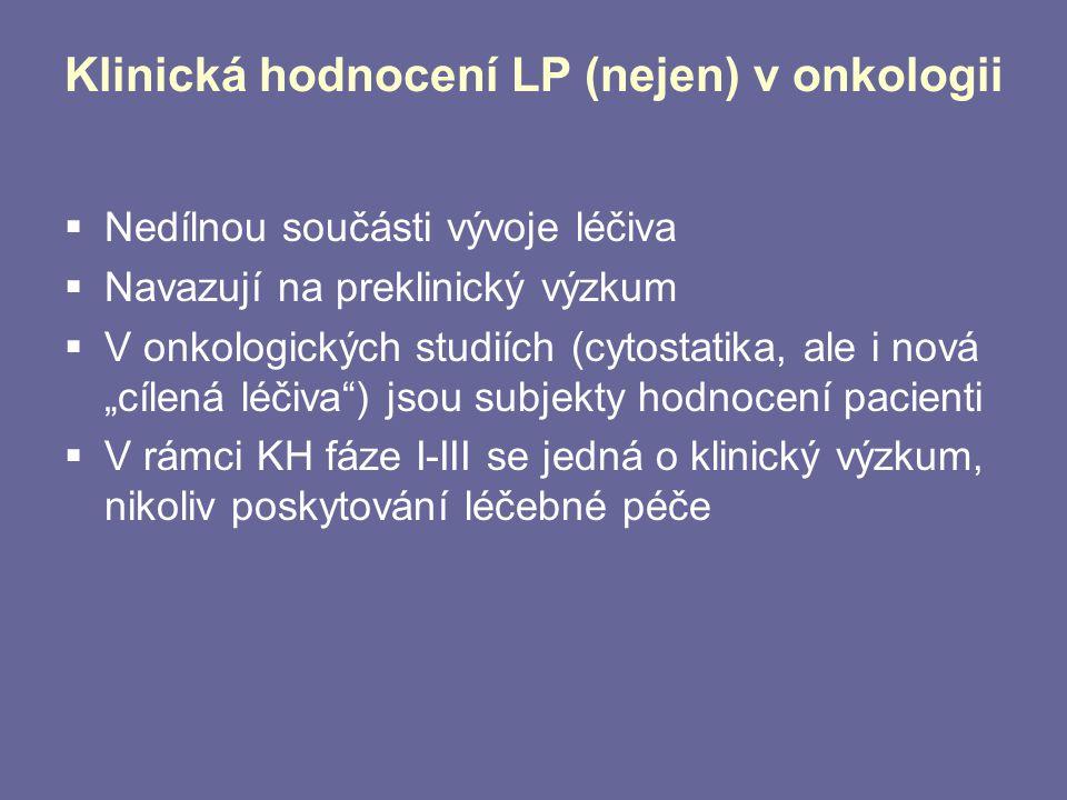 Klinická hodnocení LP (nejen) v onkologii