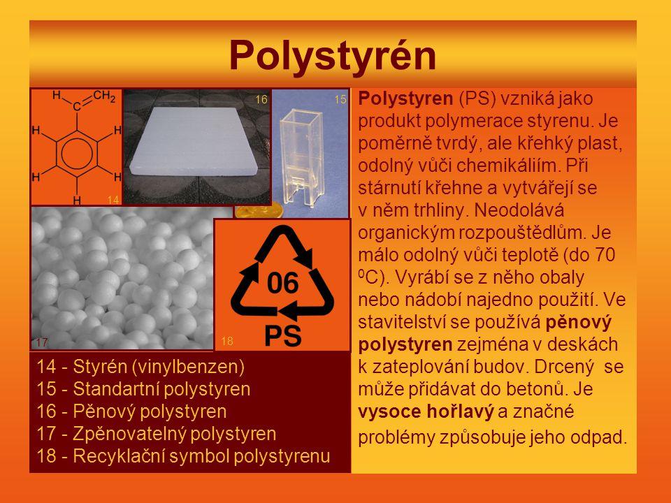 Polystyrén Polystyren (PS) vzniká jako produkt polymerace styrenu. Je