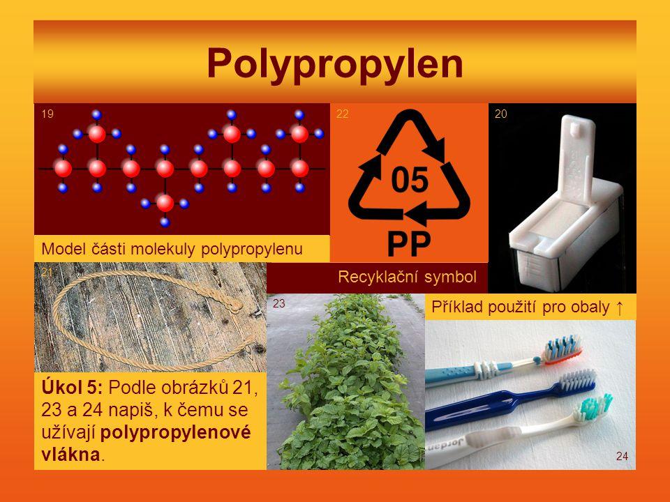 Polypropylen Model části molekuly polypropylenu. Recyklační symbol.