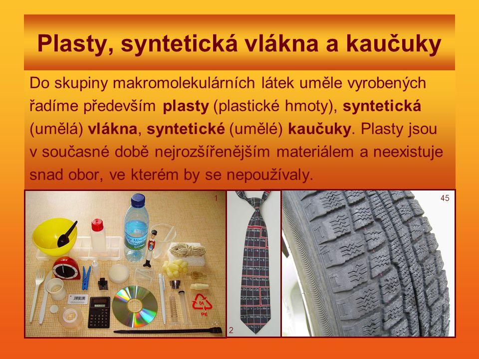 Plasty, syntetická vlákna a kaučuky