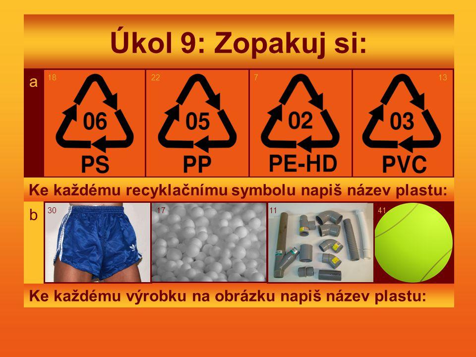 Úkol 9: Zopakuj si: 18. 22. a. 7. a. 18. 22. 7. 13. Ke každému recyklačnímu symbolu napiš název plastu: