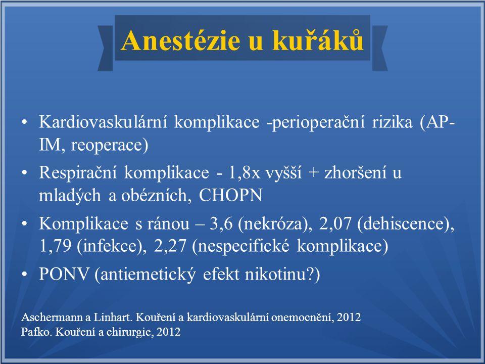 Anestézie u kuřáků Kardiovaskulární komplikace -perioperační rizika (AP- IM, reoperace)