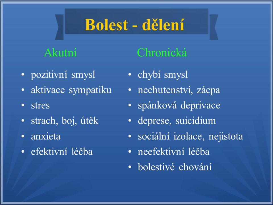 Bolest - dělení Akutní Chronická pozitivní smysl aktivace sympatiku