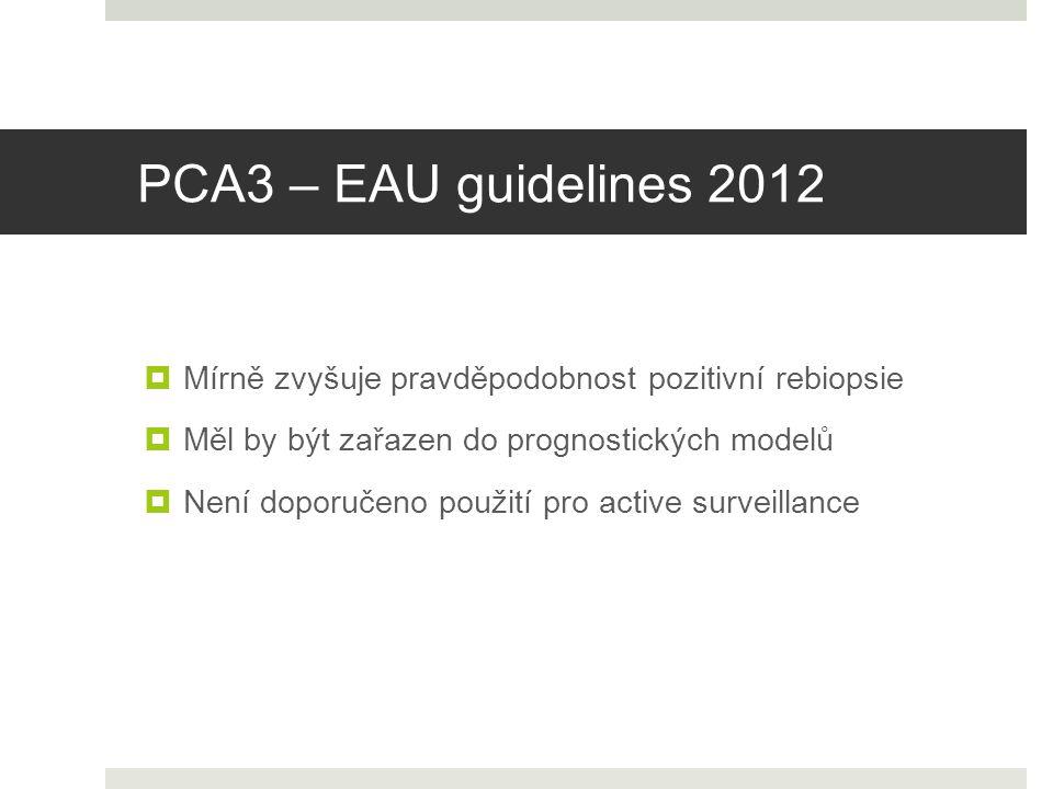 PCA3 – EAU guidelines 2012 Mírně zvyšuje pravděpodobnost pozitivní rebiopsie. Měl by být zařazen do prognostických modelů.