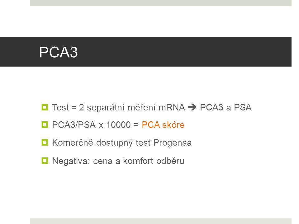 PCA3 Test = 2 separátní měření mRNA  PCA3 a PSA