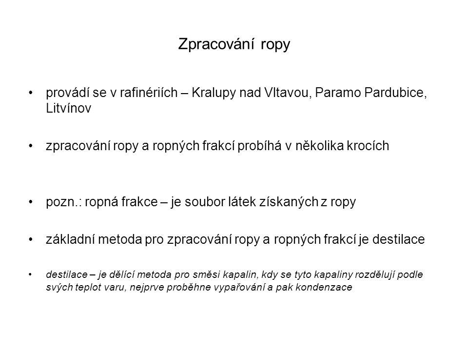 Zpracování ropy provádí se v rafinériích – Kralupy nad Vltavou, Paramo Pardubice, Litvínov.