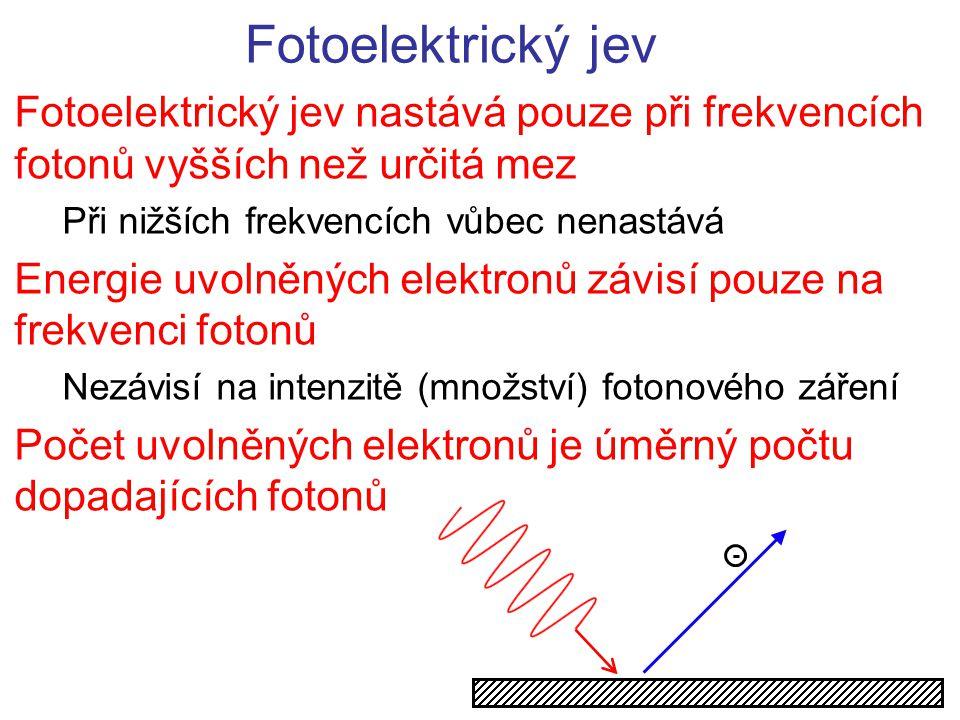 Fotoelektrický jev Fotoelektrický jev nastává pouze při frekvencích fotonů vyšších než určitá mez. Při nižších frekvencích vůbec nenastává.