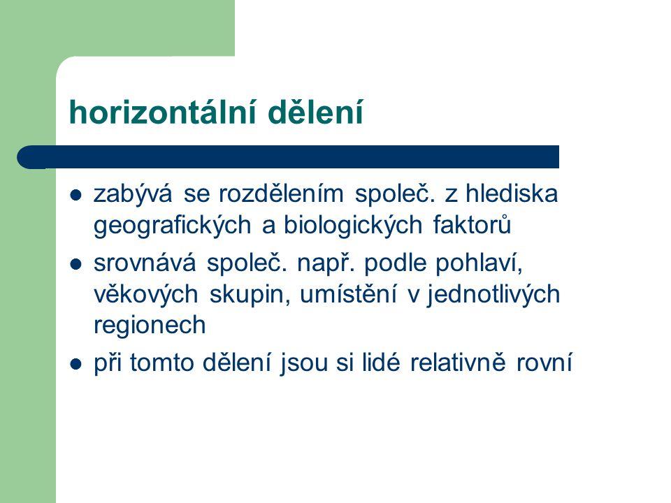 horizontální dělení zabývá se rozdělením společ. z hlediska geografických a biologických faktorů.