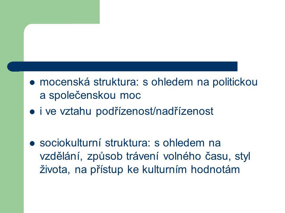 mocenská struktura: s ohledem na politickou a společenskou moc