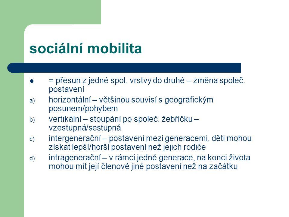 sociální mobilita = přesun z jedné spol. vrstvy do druhé – změna společ. postavení. horizontální – většinou souvisí s geografickým posunem/pohybem.