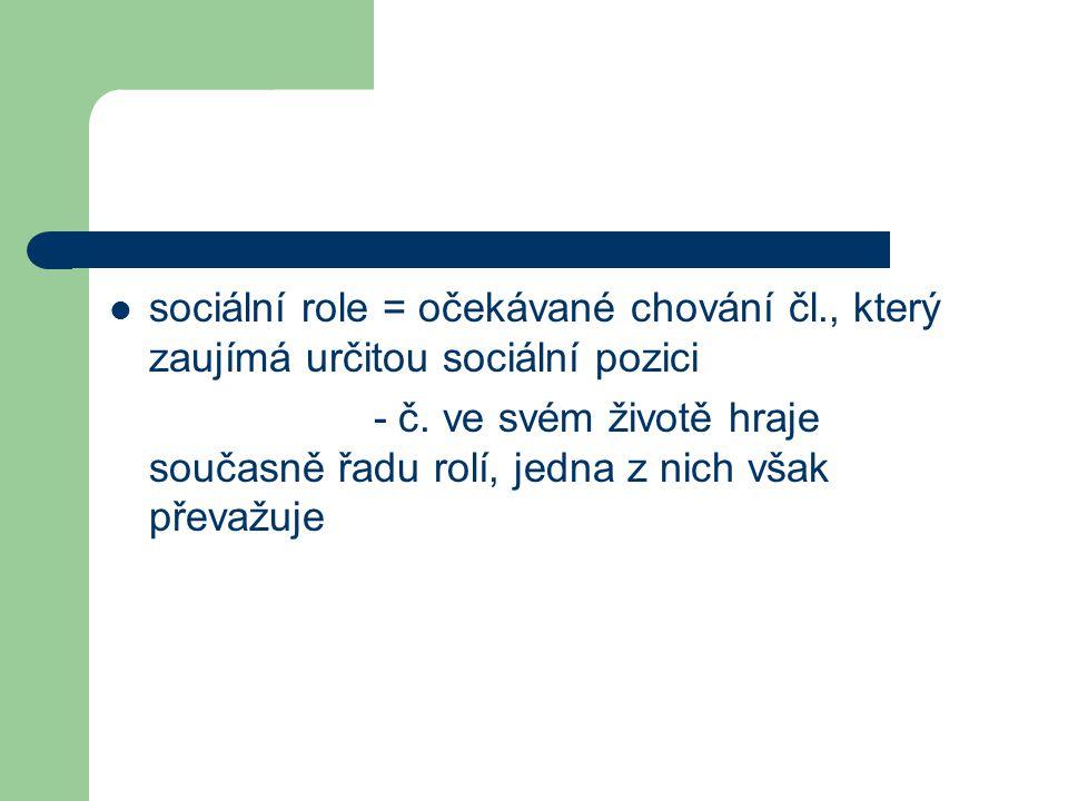 sociální role = očekávané chování čl