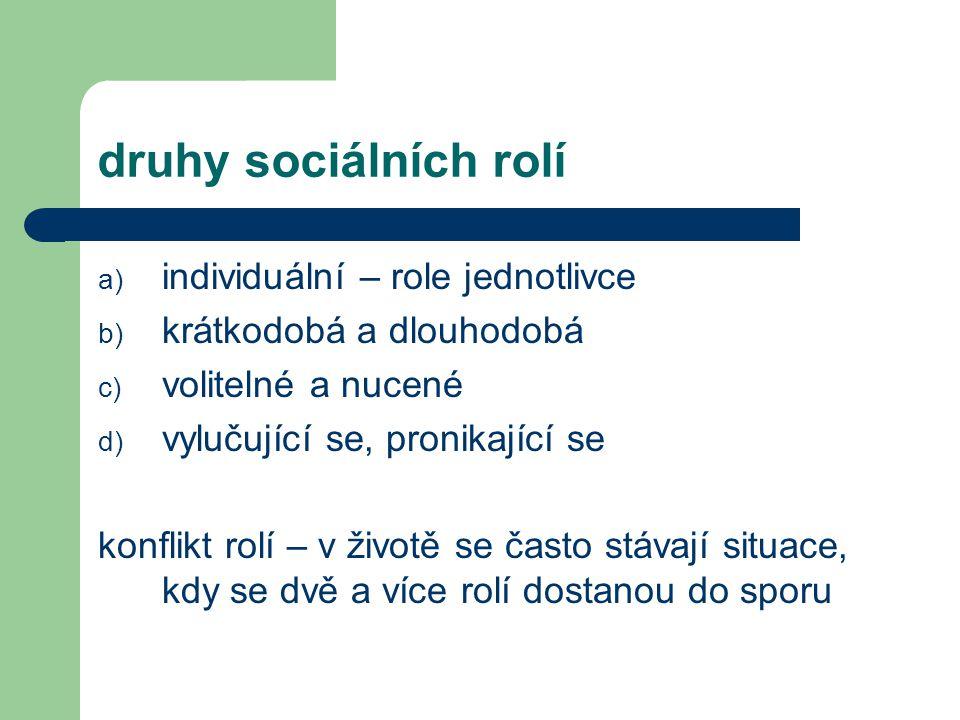 druhy sociálních rolí individuální – role jednotlivce
