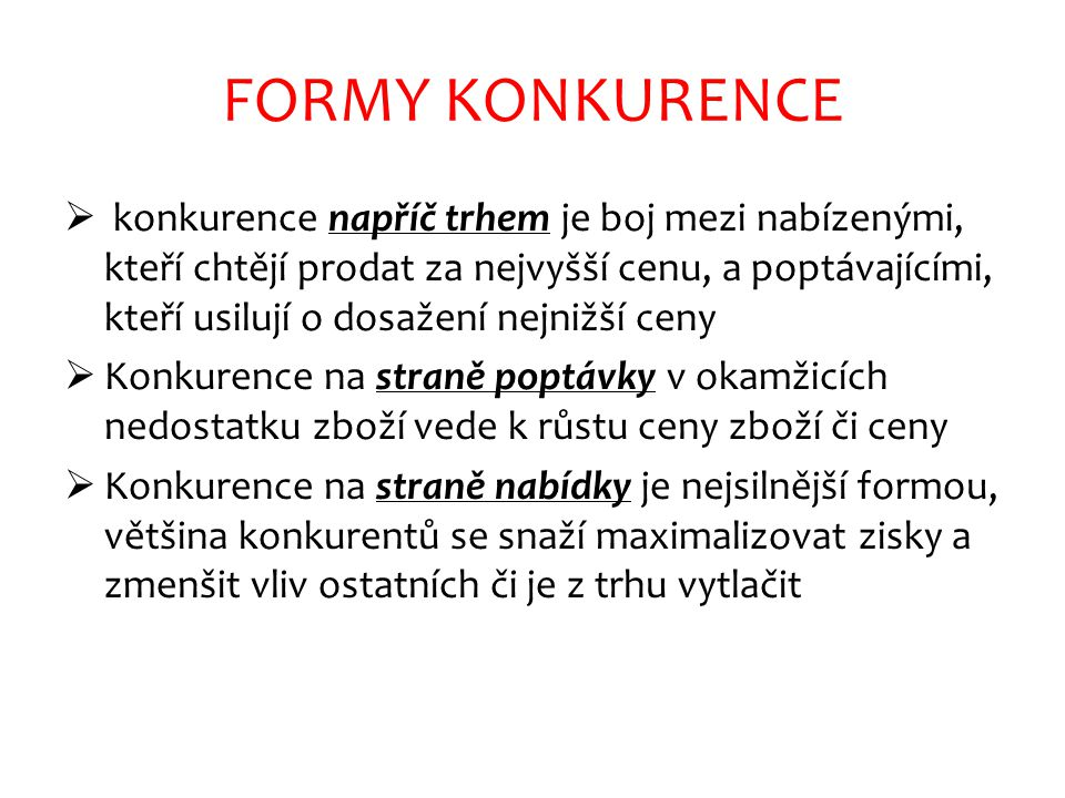 FORMY KONKURENCE