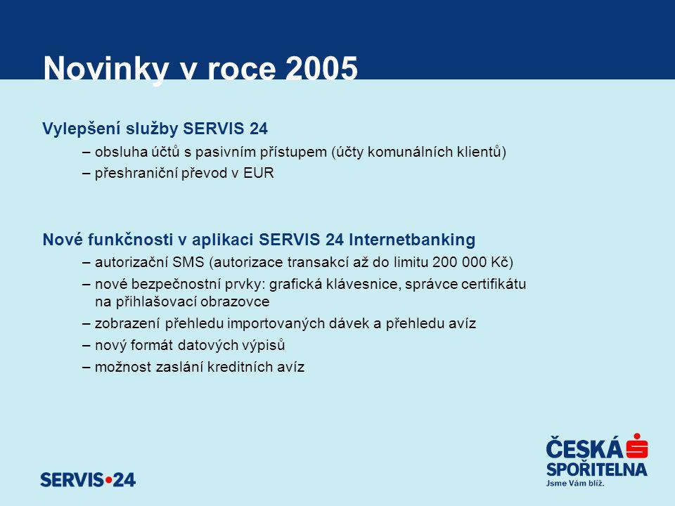 Novinky v roce 2005 Vylepšení služby SERVIS 24