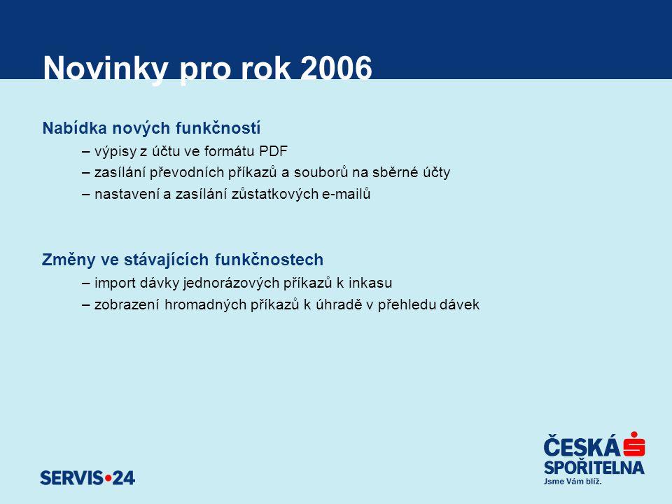 Novinky pro rok 2006 Nabídka nových funkčností