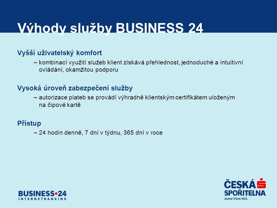 Výhody služby BUSINESS 24