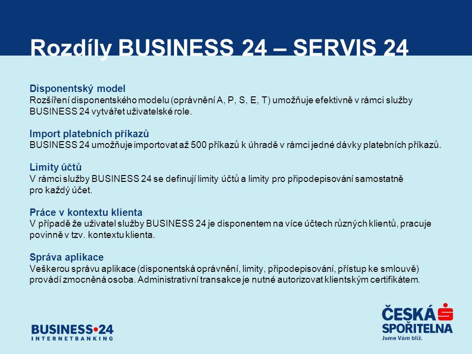 Rozdíly BUSINESS 24 – SERVIS 24