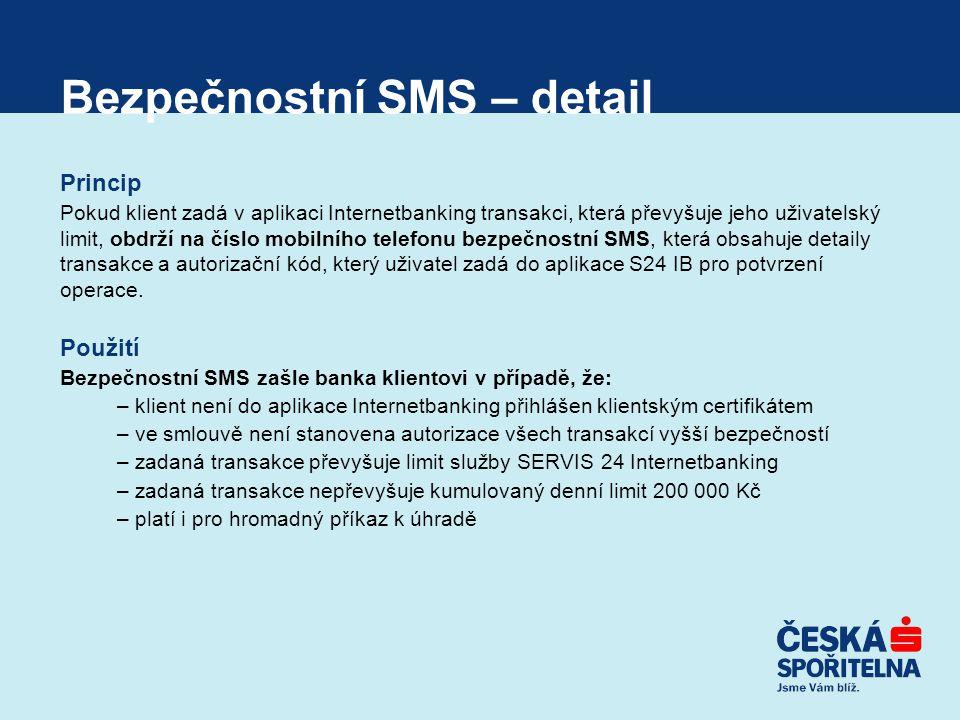 Bezpečnostní SMS – detail