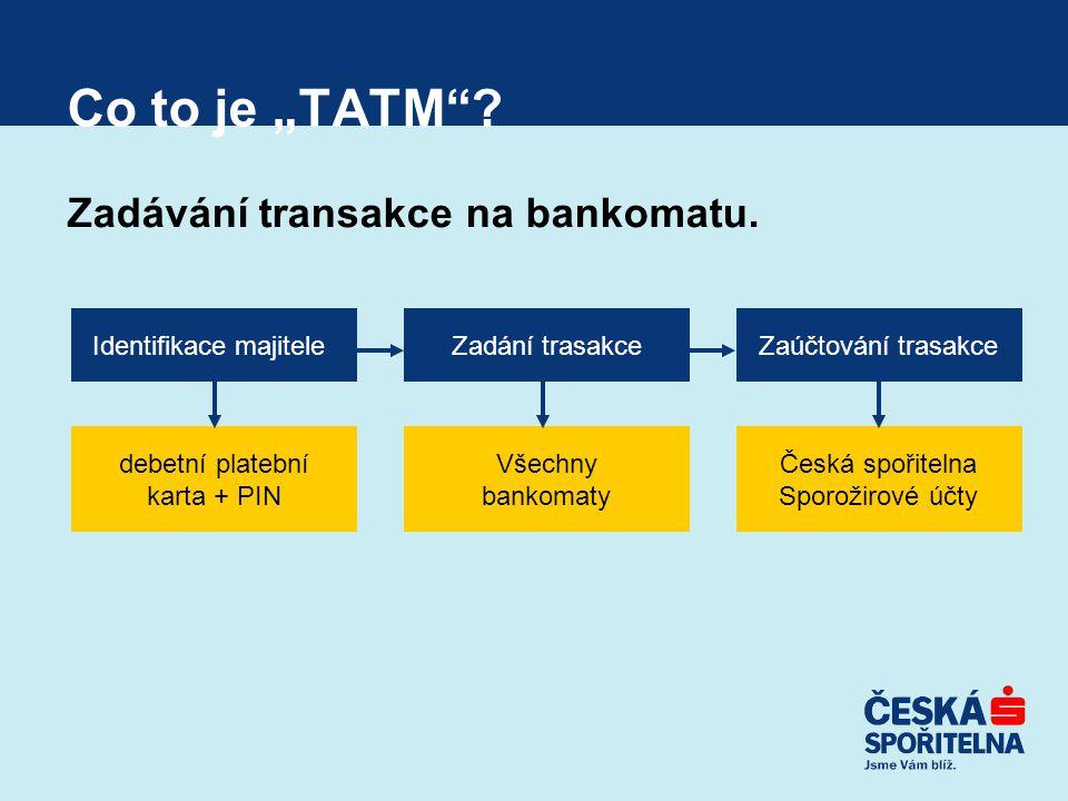 """Co to je """"TATM Zadávání transakce na bankomatu."""
