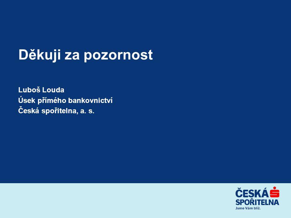 Děkuji za pozornost Luboš Louda Úsek přímého bankovnictví