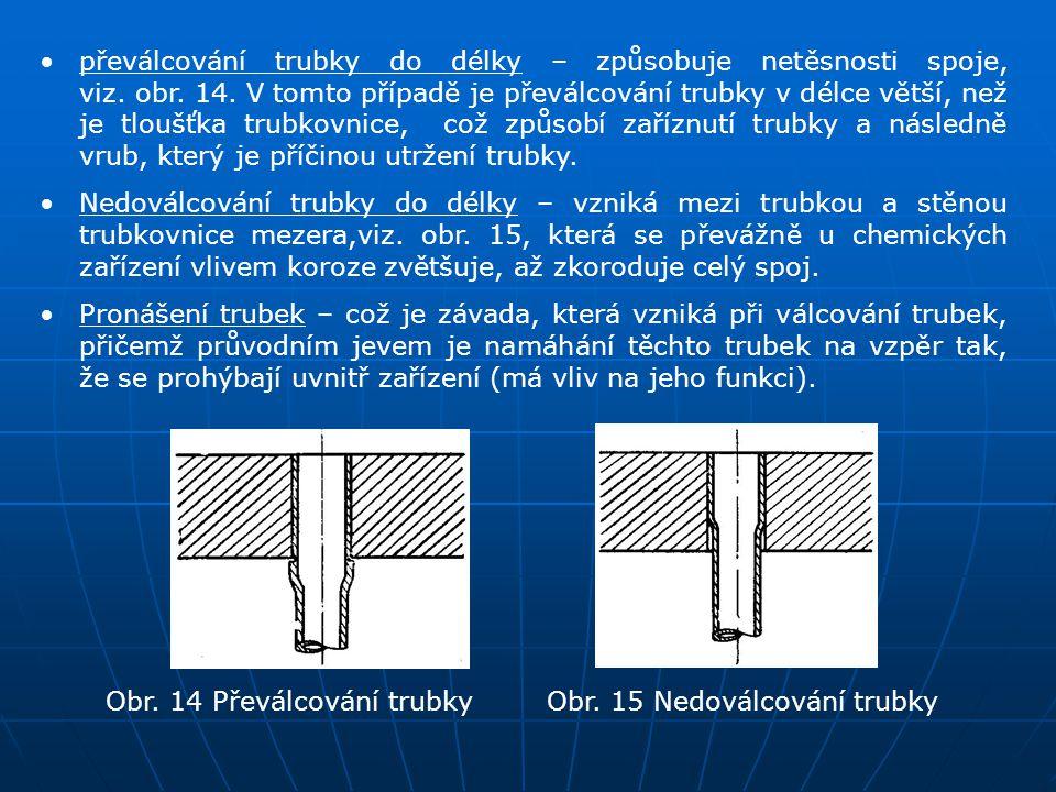 převálcování trubky do délky – způsobuje netěsnosti spoje, viz. obr. 14. V tomto případě je převálcování trubky v délce větší, než je tloušťka trubkovnice, což způsobí zaříznutí trubky a následně vrub, který je příčinou utržení trubky.