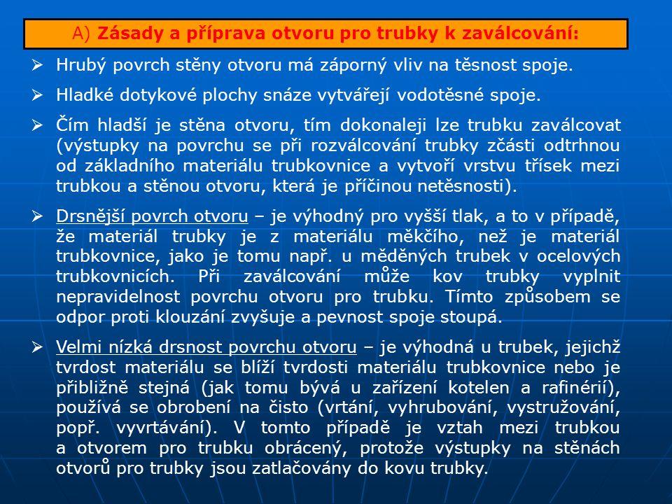 A) Zásady a příprava otvoru pro trubky k zaválcování: