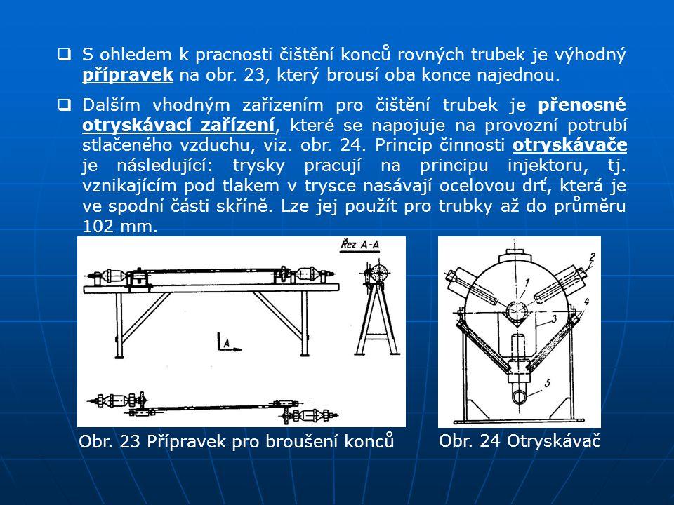 S ohledem k pracnosti čištění konců rovných trubek je výhodný přípravek na obr. 23, který brousí oba konce najednou.