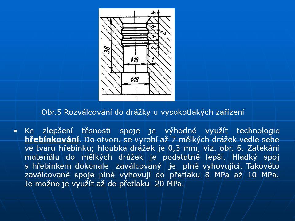 Obr.5 Rozválcování do drážky u vysokotlakých zařízení