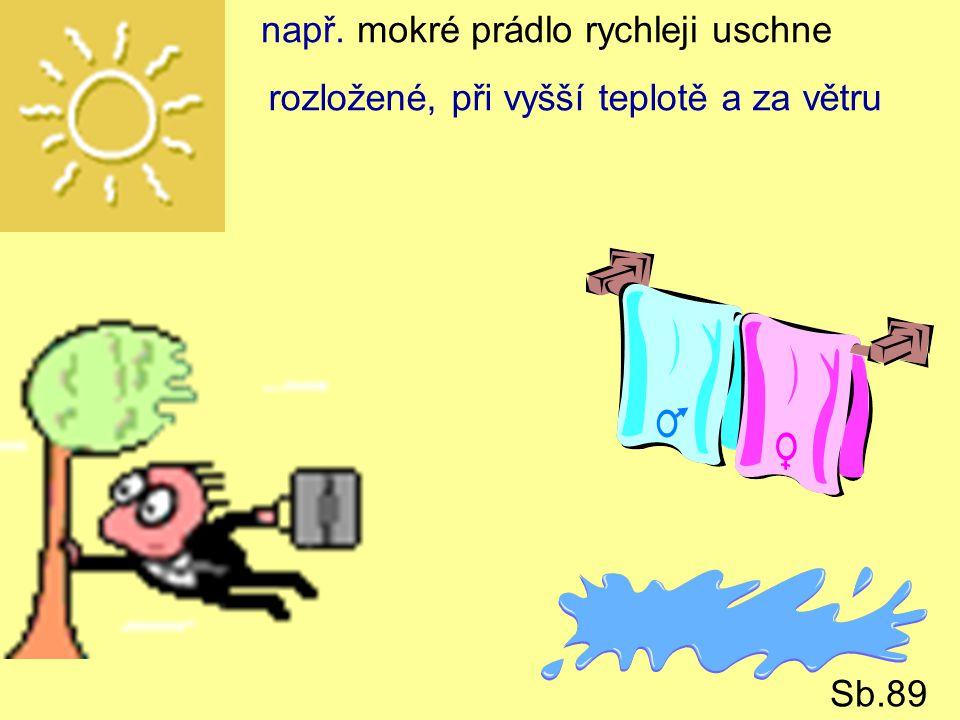 např. mokré prádlo rychleji uschne