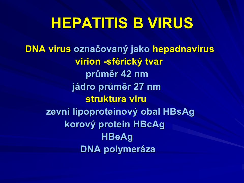 HEPATITIS B VIRUS DNA virus označovaný jako hepadnavirus