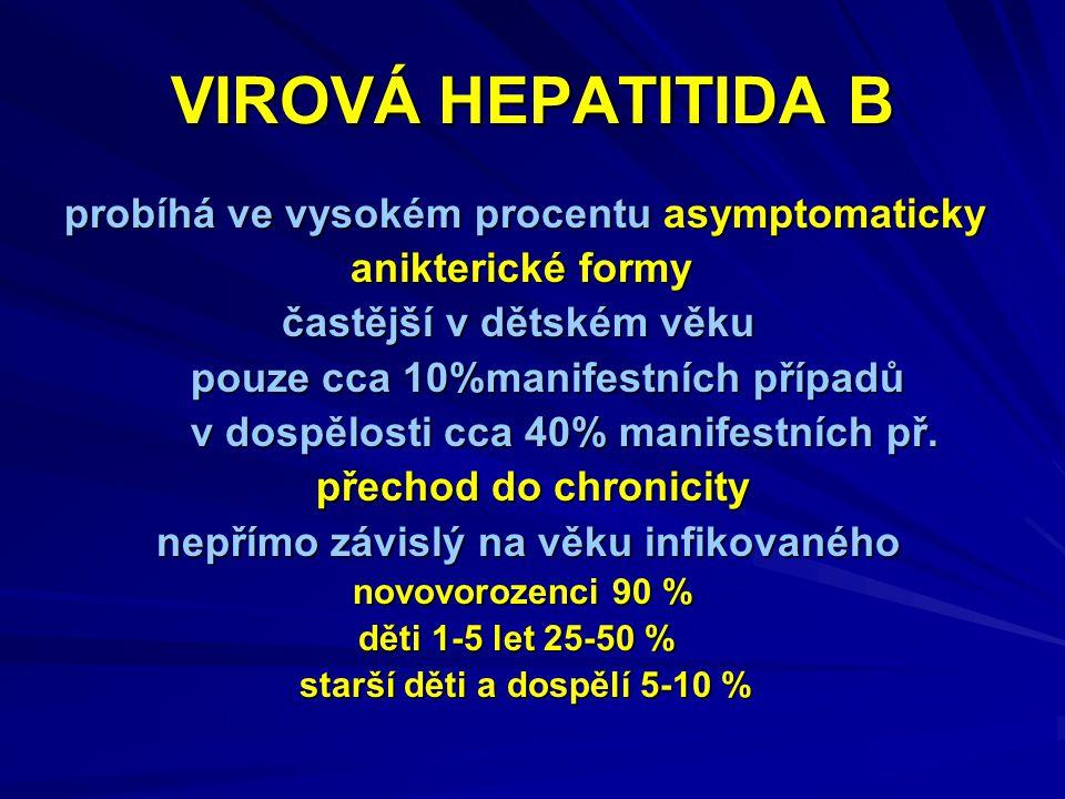 VIROVÁ HEPATITIDA B probíhá ve vysokém procentu asymptomaticky