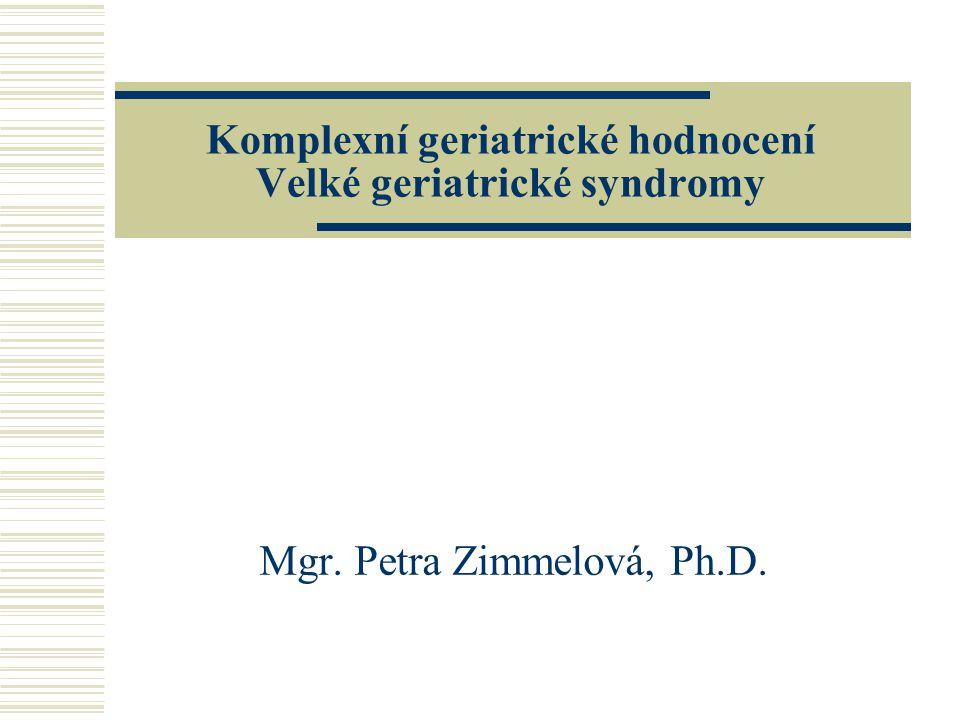 Komplexní geriatrické hodnocení Velké geriatrické syndromy