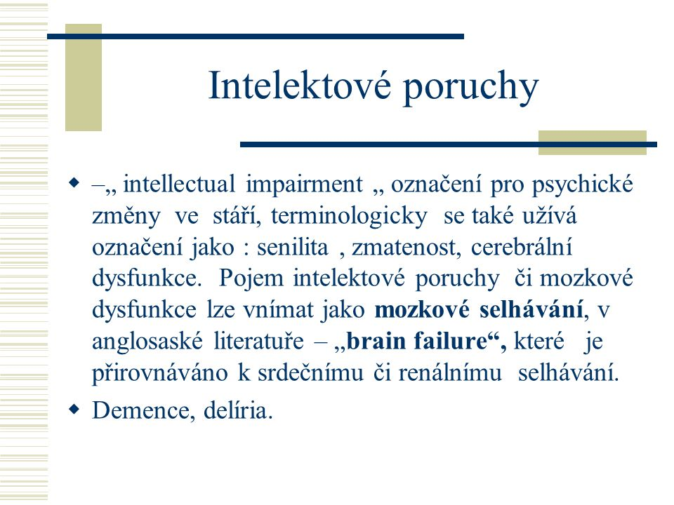 Intelektové poruchy