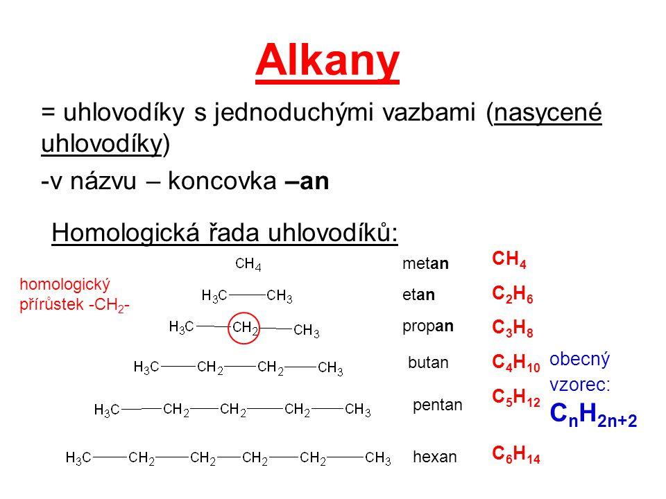 Alkany = uhlovodíky s jednoduchými vazbami (nasycené uhlovodíky)